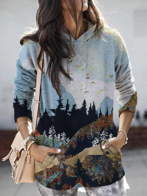 Ladies Mountain Peak Print Casual Hoodie