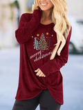 Women's Casual Loose Christmas Printed Letters Merry Christmas Long-Sleeved T-Shirt
