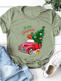 Women's Casual Loose Christmas Print Round Neck Cotton Short Sleeves