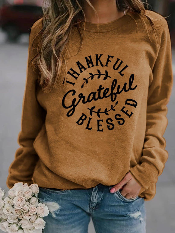 Thankful Grateful Blessed Long Sleeve Pullover