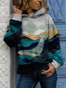Art Mountain And Whale Print Casual Hooded Sweatshirt
