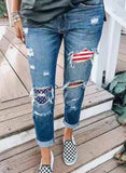Flag Pattern Ripped Stitching Jeans