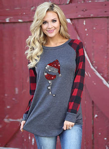 Women's Christmas  Hat And Wineglass Print Long-sleeved Red Plaid Stitching Sweatshirt