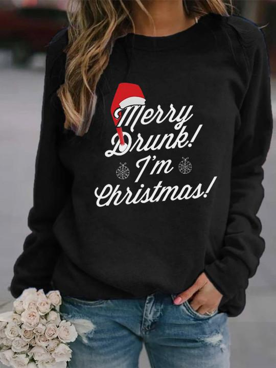 Women's Christmas Merry Drunk I'm Christmas Printed Long Sleeve Sweatshirt
