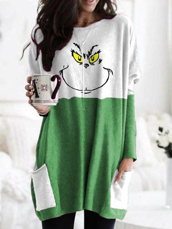 Animal Face Colorblock Long Sleeve T-Shirt