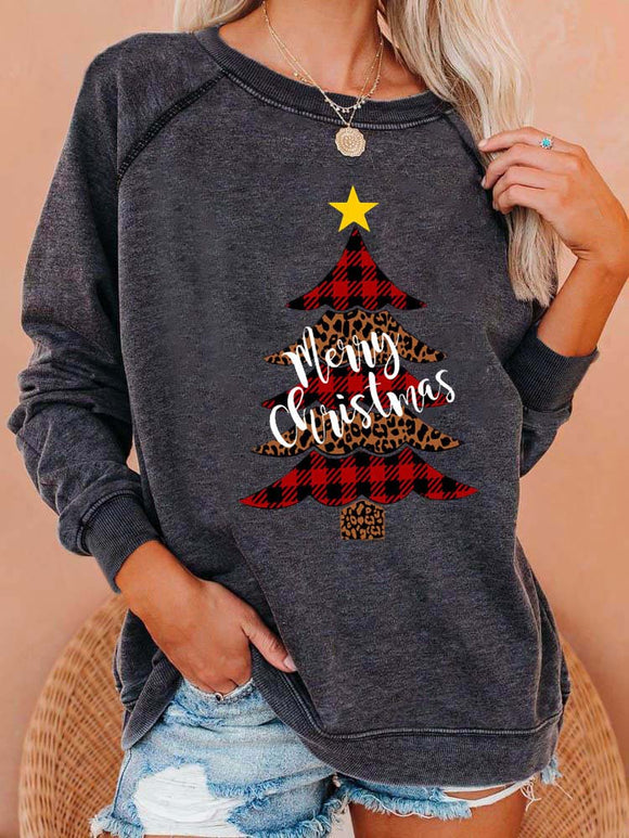 Women's Merry Christmas Plaid Leopard Print Christmas Tree Sweatshirt