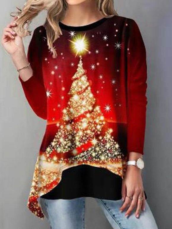 Asymmetrical Hem Christmas Tree Printed T-Shirt