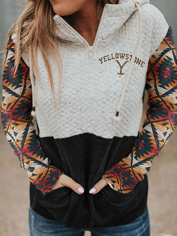 Women's Yellowstone Western Print Hood Collar Colorblock Pocket Sweatshirt