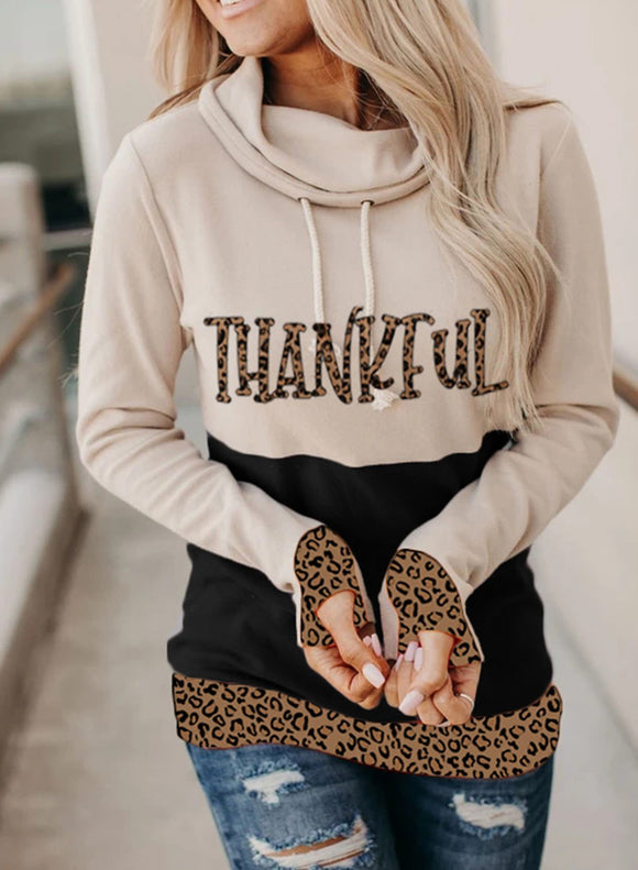 Leopard Color Block Long Sleeve Festival Hoodie