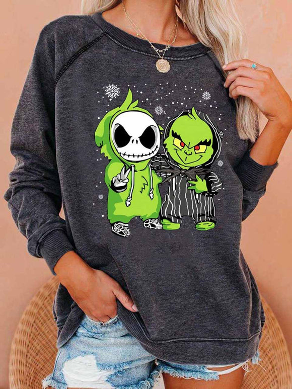 Women's Jack Skellington The Grinch Print Sweatshirt