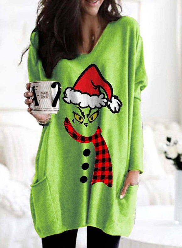 Christmas Long Sleeve V Neck Tunic