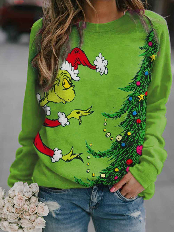 Women's Christmas Tree Print Sweatshirt