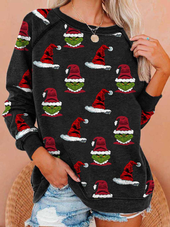 Women's Christmas Hat Grinch Print Sweatshirt