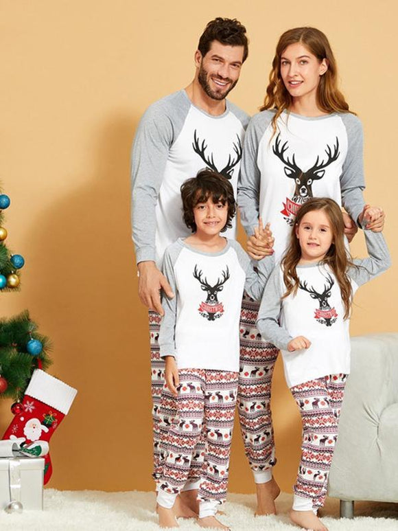 Elk printed parent-child household clothes