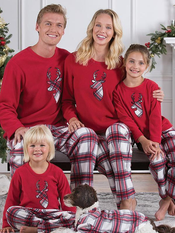 Striped Plaid Long Sleeve Crew Neck Pants Christmas elk parent-child set