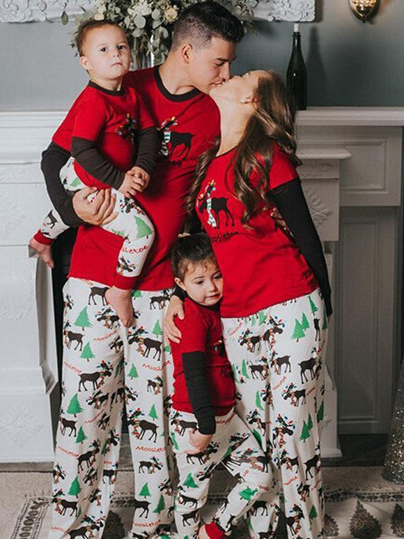 Casual Christmas deer print two-piece parent-child outfit