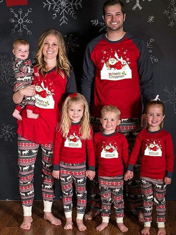 Casual Christmas Santa Printed Two-piece Parent-child Wear