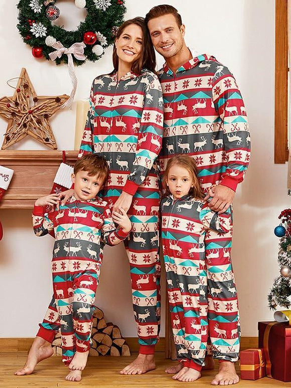 Casual Christmas Fawn Stripe Printed Two-Piece Set Parent-child Wear