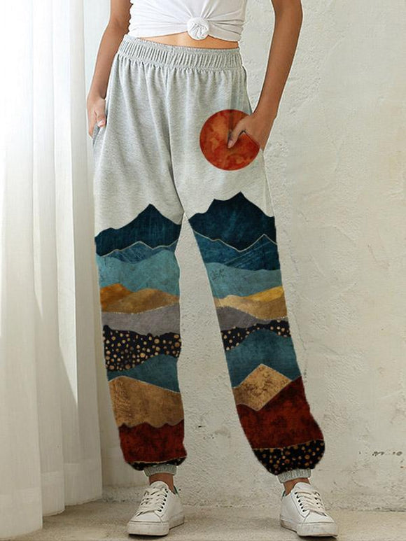 Women's Mountain Sun Print Pocket Elastic Waist Casual Pants