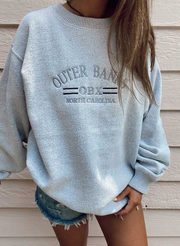 Gray Letter  Printing Long Sleeve Sweatshirt