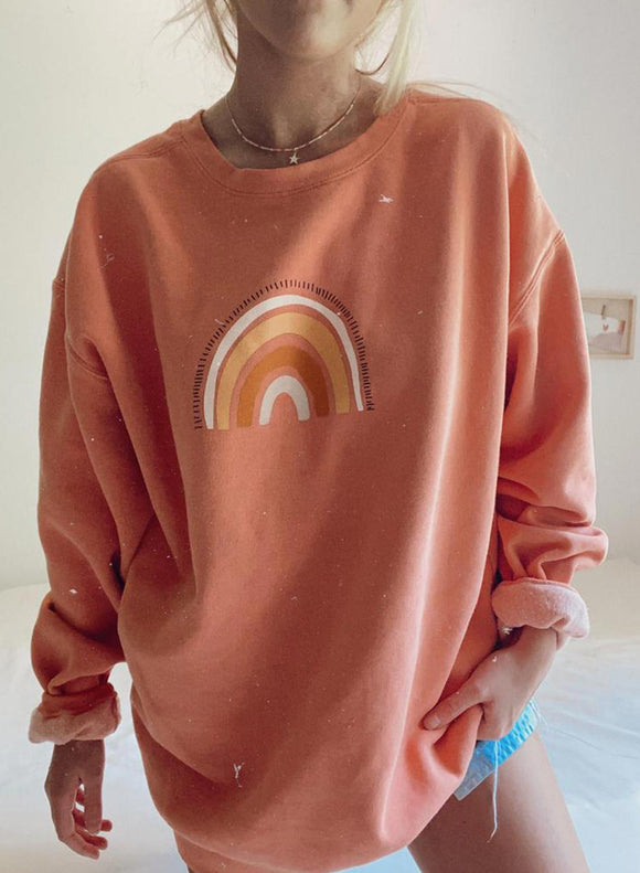 Orange Rainbow Printing Casual Sweatshirt