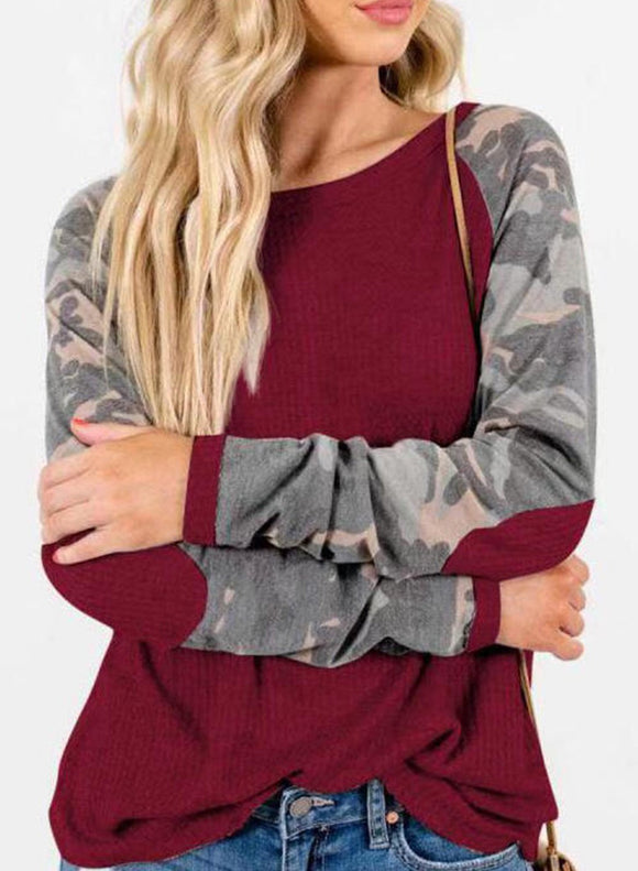 Casual Camouflage Long Sleeve Loose Sweatshirt