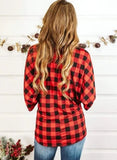 Christmas Plaid Round Neck Knot Sweatshirt