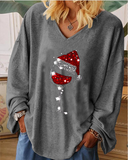 Ladies Christmas wine glass print shirt