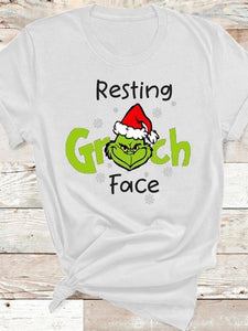 Ladies Christmas Grinch Printed Short Sleeve Round Collar T-shirts