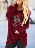 Leopard Letter Print Christmas Twisted Sweatshirt