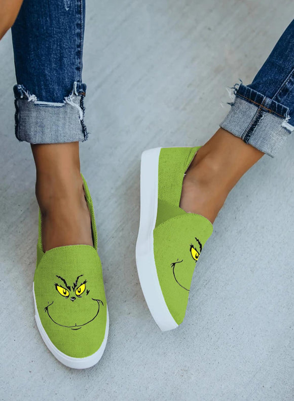 Green Cartoon Little Monster Casual Canvas Shoes