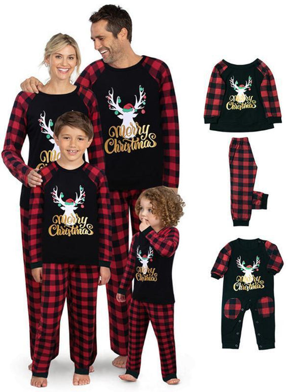 Stitching and plaid  Christmas elk pattern print parent-child set