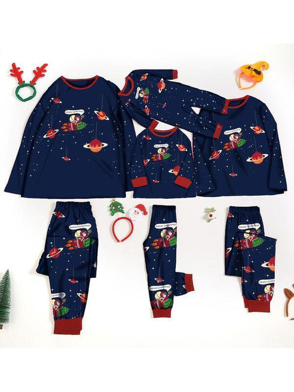 Christmas Space Santa Print Parent-child Set