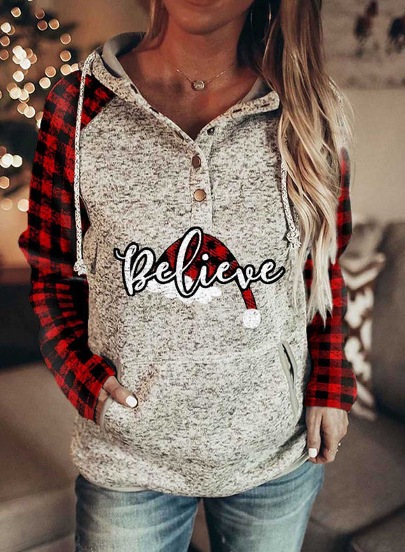 Christmas Santa Hat Plaid Long Sleeve Festival Sweatshirt Hoodie
