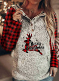 Christmas Reindeer Print Plaid Long Sleeve Sweatshirt Hoodie