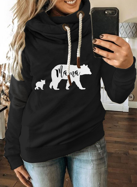 Mama Bear Black Long Sleeve Casual Hoodie