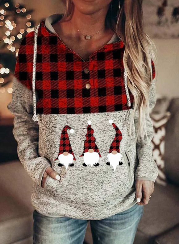 Christmas Pocketed Color Block Hooded Sweatshirt