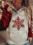 Women Christmas Plaid Slogan Letter Long-sleeve Pockets Hoodies