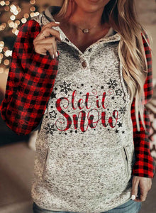 Christmas Plaid Pocketed Hooded Sweatshirt