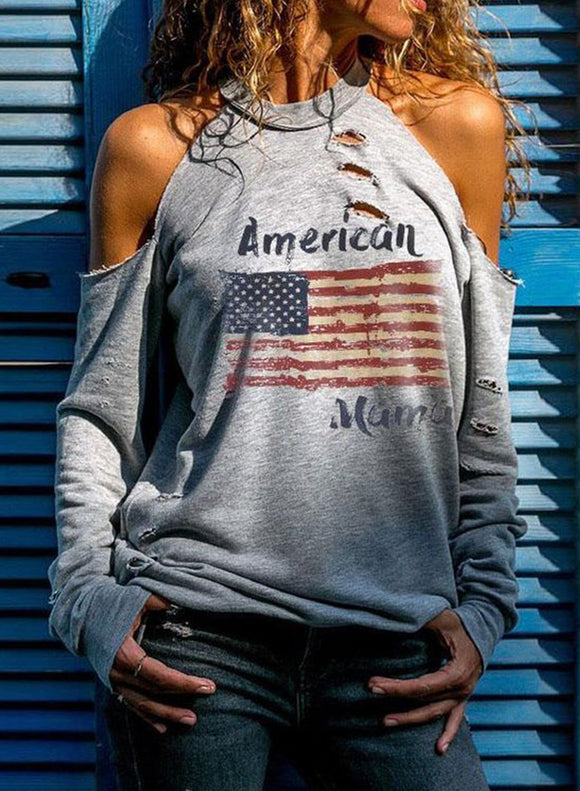 Women's Sweatshirt Cut Out Cold Shoulder Flag Halter