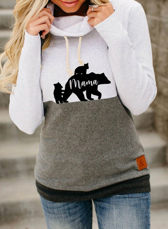 Women's Sweatshirts Mama Bear High Neck Drawstring Sweatshirt