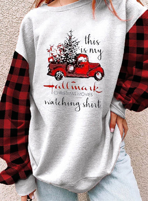 Women's Sweatshirts Christmas Color Block Plaid Sweatshirt