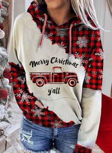 Ladies Christmas Plaid Car Printe Casual Hoodie with Pocket