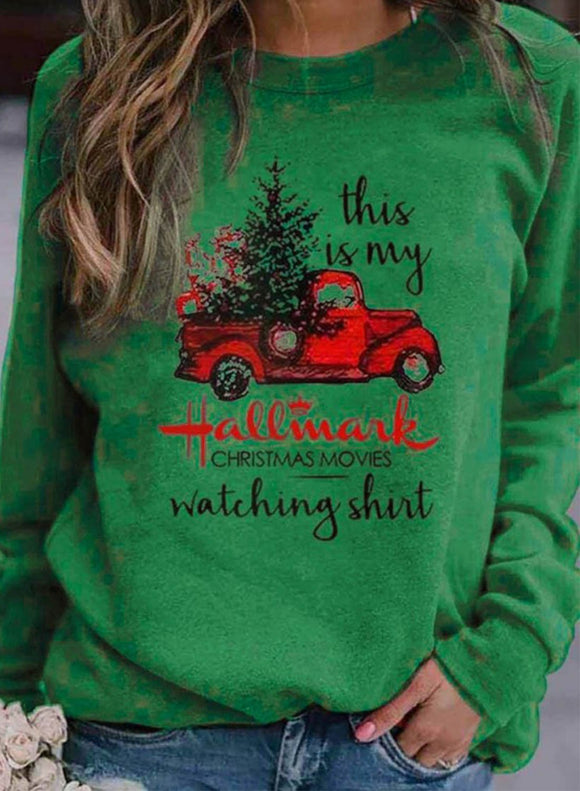 Women's Sweatshirts Round Neck Christmas Print Long Sleeve Sweatshirts