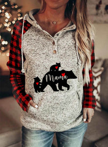 Women's Hoodies Plaid Button with Pocket Sweatshirt