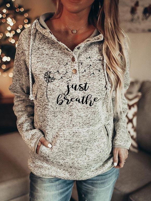 "Women's Faith ""Just Breath""Dandelion Print Hoodie"