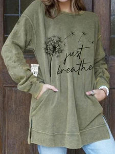 Women's Just Breathe Dandelion Print Sweatshirt