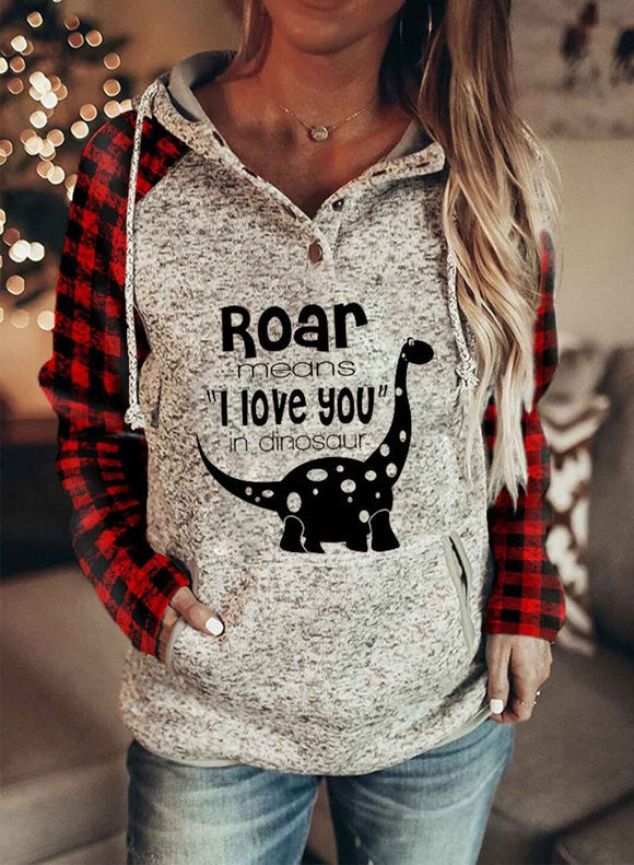 Women's Hoodies Button Plaid Hoodie