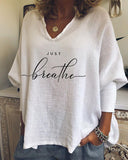 Woman's Just Breath Casual V-neck Sweatshirt