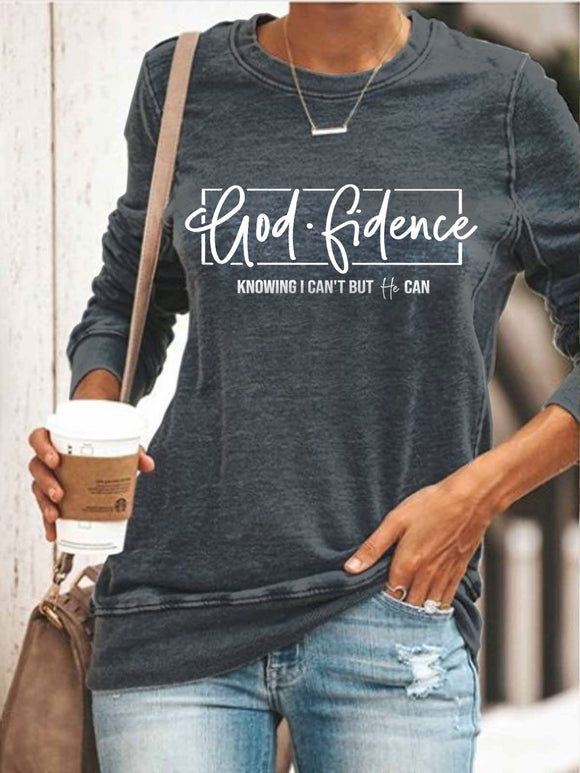 Women's Godfidence Knowing I Can't But He Can Casual Shirt